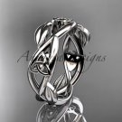 platinum  celtic trinity knot wedding band, triquetra ring, engagement ring CT7403G