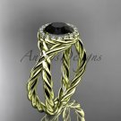 14kt yellow gold diamond rope engagement ring with a Black Diamond center stone RP889