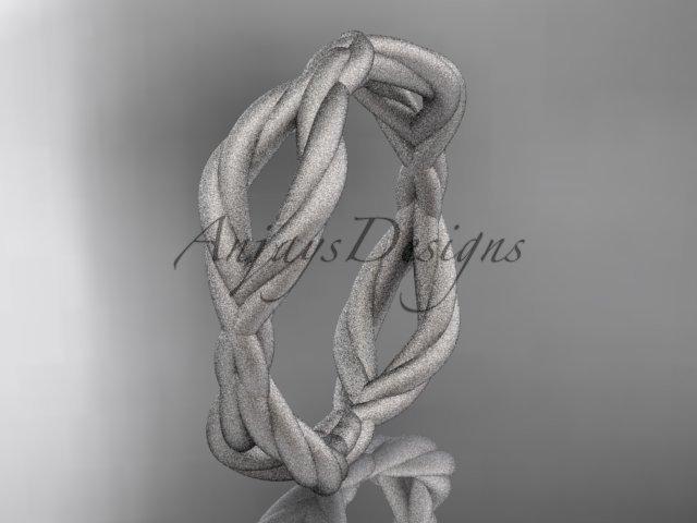 14k white gold rope matte finish wedding band RP898G