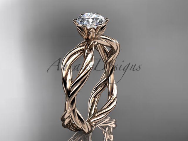 14kt rose gold twisted rope engagement ring RP8100
