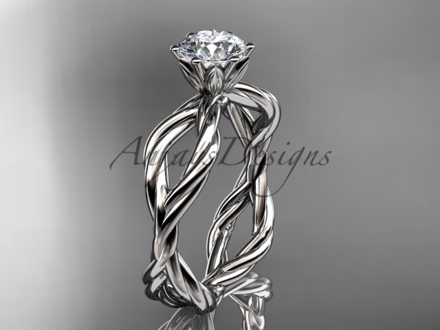 """Platinum """"Forever One"""" Moissanite rope engagement ring RP8100"""