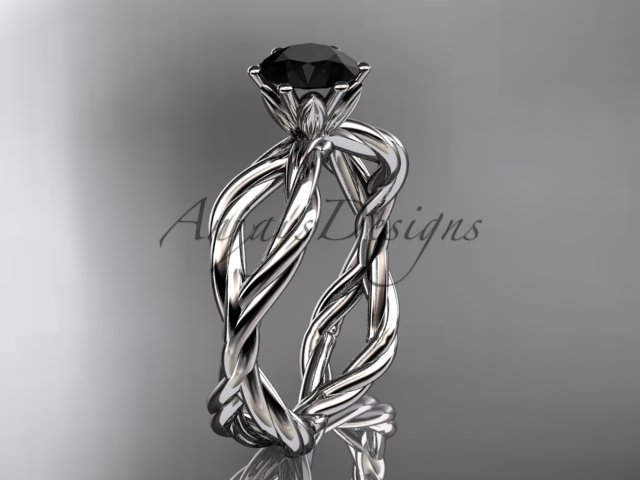 Platinum  Black Diamond rope engagement ring RP8100