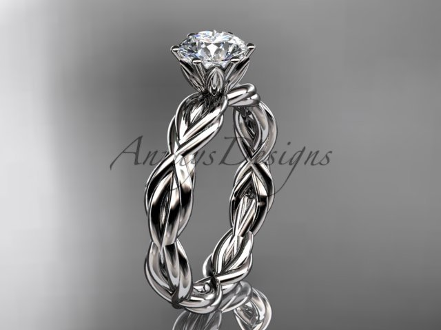 "14kt white gold rope engagement ring with a ""Forever One"" Moissanite center stone RP8101"