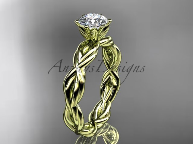 "14kt yellow gold rope engagement ring with a ""Forever One"" Moissanite center stone RP8101"