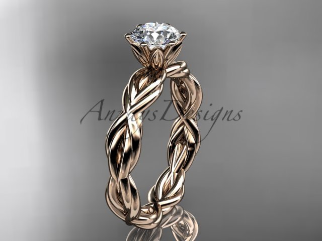 """14kt rose gold rope engagement ring with a """"Forever One"""" Moissanite center stone RP8101"""
