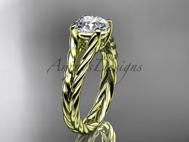 """14kt yellow gold twisted rope engagement ring with a """"Forever One"""" Moissanite center stone RP8108"""