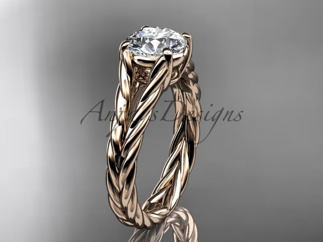 "14kt rose gold twisted rope engagement ring with a ""Forever One"" Moissanite center stone RP8108"