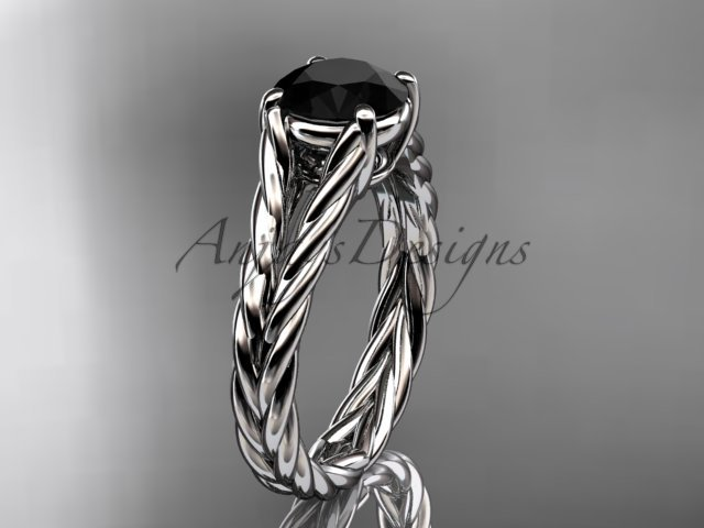 Platinum  twisted rope engagement ring with a Black Diamond center stone RP8108