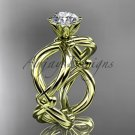 "14kt yellow gold twisted rope engagement ring with a ""Forever One"" Moissanite center stone RP8192"