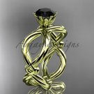 14kt yellow gold twisted rope engagement ring with a Black Diamond center stone RP8192