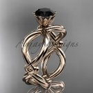 14kt rose gold twisted rope engagement ring with a Black Diamond center stone RP8192