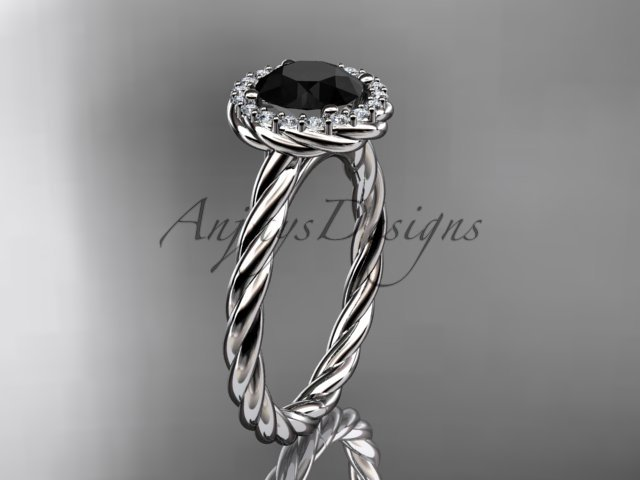 platinum  Black Diamond rope engagement ring RP8197
