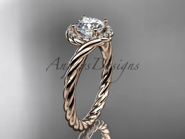 "14kt rose gold ""Forever One"" Moissanite rope engagement ring RP8379"
