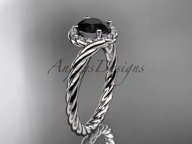 14kt white gold Black Diamond rope engagement ring RP8379