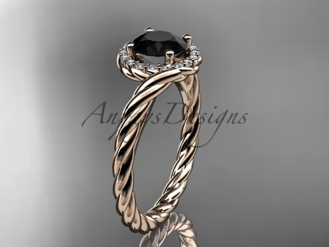 14kt rose gold Black Diamond rope engagement ring RP8379