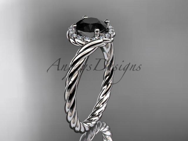 Platinum  Black Diamond rope engagement ring RP8379