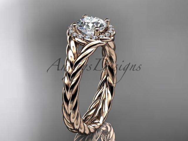 """14kt rose gold halo rope diamond engagement ring """"Forever One"""" Moissanite center stone RP8380"""
