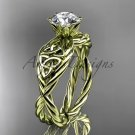 14kt yellow gold rope celtic forever one moissanite engagement rings RPCT970