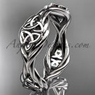 14k white gold rope Black Diamond Celtic Bridal ring RPCT998G