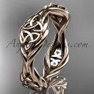 14k rose gold rope Black Diamond Celtic Bridal ring RPCT998G