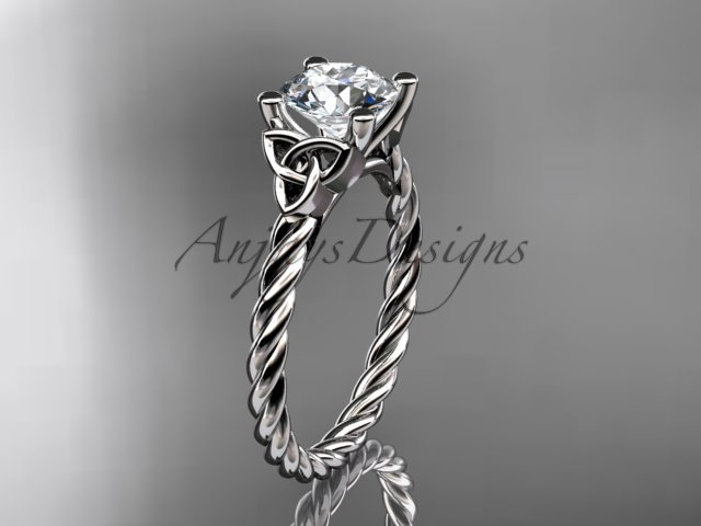 14kt white gold rope triquetra celtic engagement ring with a Moissanite center stone RPCT9116