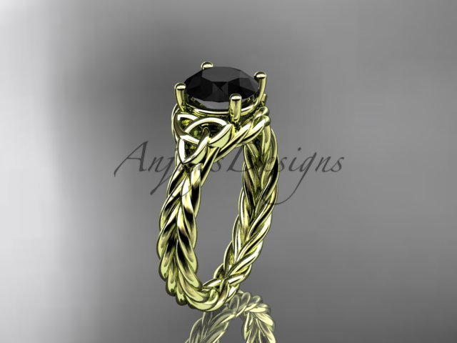 14kt yellow gold rope triquetra celtic engagement ring with a Black Diamond center stone RPCT9112