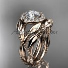 14kt rose gold diamond leaf and vine engagement set ADLR328S