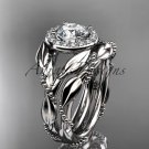 Platinum  diamond leaf and vine engagement set ADLR328S