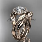 14kt rose gold diamond leaf and vine engagement set with a Moissanite center stone ADLR328S