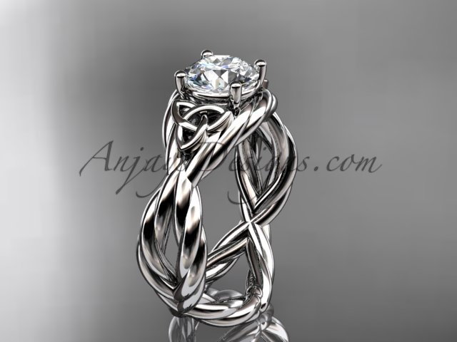 14kt white gold celtic rope engagement ring RPCT9181