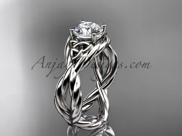 14kt white gold rope celtic forever one moissanite engagement ring RPCT9181