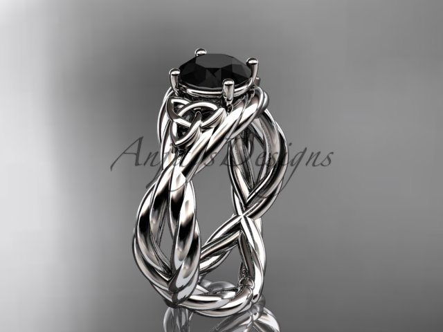 Platinum rope celtic engagement ring with a Black Diamond center stone RPCT9181