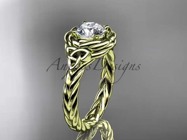 14kt yellow gold celtic nautical engagement ring with a Moissanite center stone RPCT9201