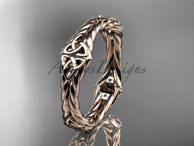 14k rose gold rope celtic trinity knot wedding band RPCT9356G