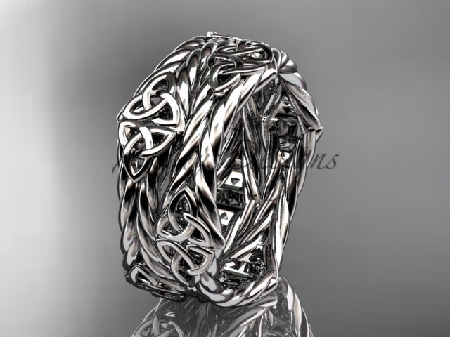 platinum  rope celtic trinity knot wedding band RPCT9357G