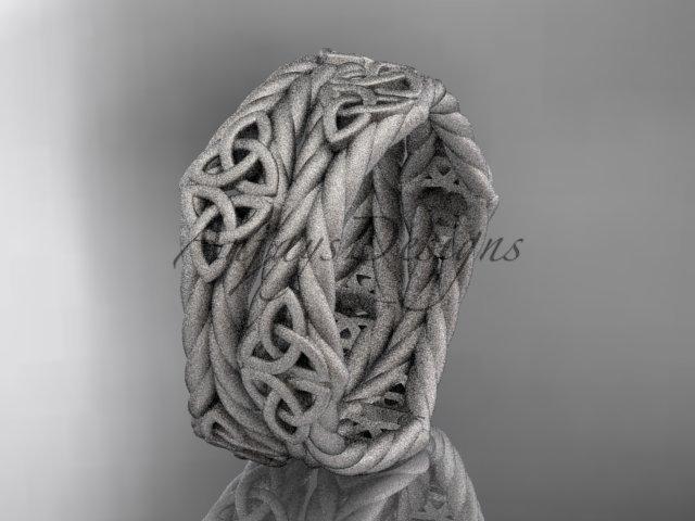 14k white gold matte finish rope celtic wedding band RPCT9357G