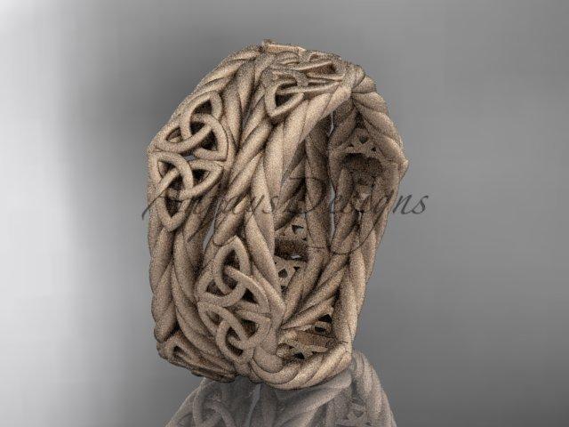 14k rose gold matte finish rope celtic wedding band RPCT9357G