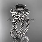 14kt white gold celtic trinity twisted rope wedding ring with a Black Diamond center stone RPCT9320