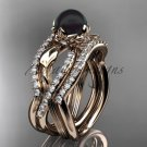 14k rose Gold Tahitian Black Pearl Engagement Ring with a Double Matching Band ABP70S