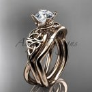 14kt rose gold celtic trinity knot engagement set with a Moissanite center stone CT770S