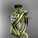 14kt yellow gold celtic trinity knot engagement set with a Black Diamond center stone CT770S