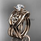 14kt rose gold celtic engagement ring with Moissanite center stone and double matching band CT770S