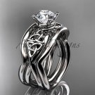 Platinum celtic engagement ring with Moissanite center stone and double matching band CT770S