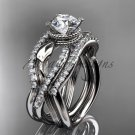 14kt white gold flower double wedding band with engagement ring ADLR70S