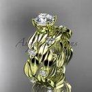 14kt yellow gold diamond leaf wedding set ADLR58S