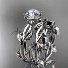 unique platinum leaf and vine wedding set ADLR522S