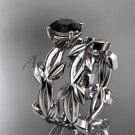 unique platinum leaf and vine wedding set with a Black Diamond center stone ADLR522S
