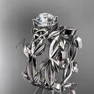 Celtic knot white gold leaf wedding ring set CT7522S
