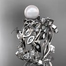 Celtic triquetra knot platinum diamond pearl vine and leaf wedding set CTP759S