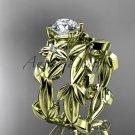 Leaf and Flower Wedding Sets 14k yellow gold modern engagement set ADLR424S